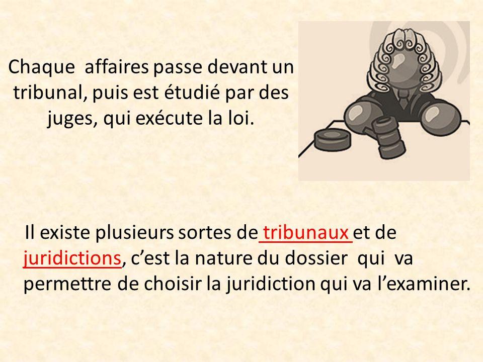 Chaque affaires passe devant un tribunal, puis est étudié par des juges, qui exécute la loi. Il existe plusieurs sortes de tribunaux et de juridiction