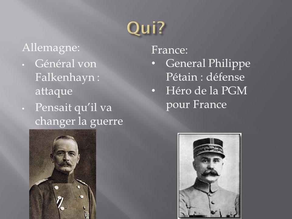 Allemagne: Général von Falkenhayn : attaque Pensait quil va changer la guerre France: General Philippe Pétain : défense Héro de la PGM pour France