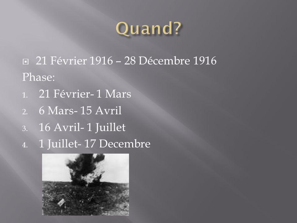 21 Février 1916 – 28 Décembre 1916 Phase: 1. 21 Février- 1 Mars 2.