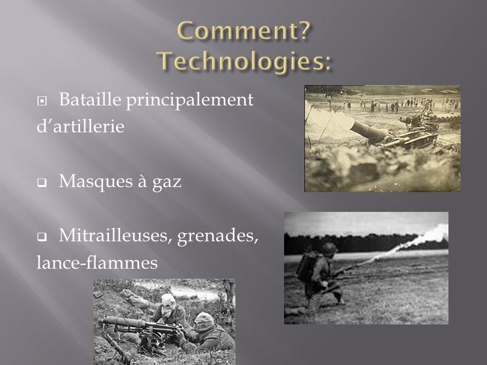 Bataille principalement dartillerie Masques à gaz Mitrailleuses, grenades, lance-flammes