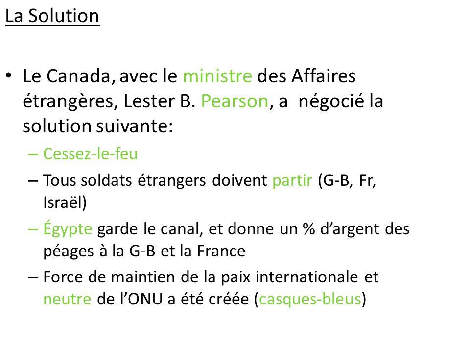 La Solution Le Canada, avec le ministre des Affaires étrangères, Lester B. Pearson, a négocié la solution suivante: – Cessez-le-feu – Tous soldats étr