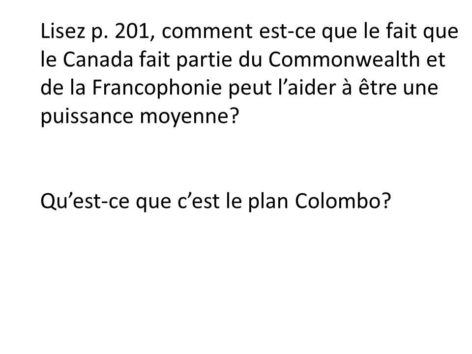 Lisez p. 201, comment est-ce que le fait que le Canada fait partie du Commonwealth et de la Francophonie peut laider à être une puissance moyenne? Que