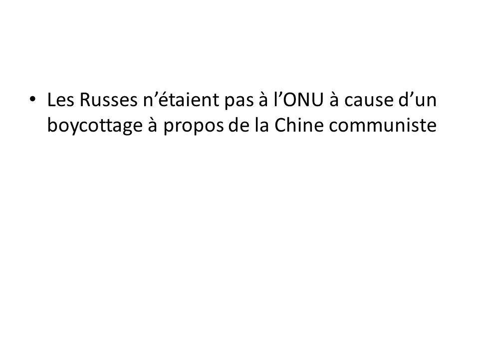 Les Russes nétaient pas à lONU à cause dun boycottage à propos de la Chine communiste