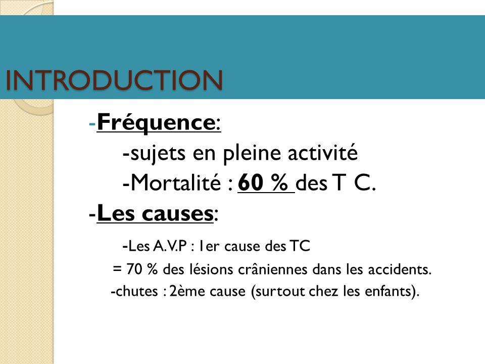 INTRODUCTION -Fréquence: -sujets en pleine activité -Mortalité : 60 % des T C. -Les causes: - Les A.V.P : 1er cause des TC = 70 % des lésions crânienn
