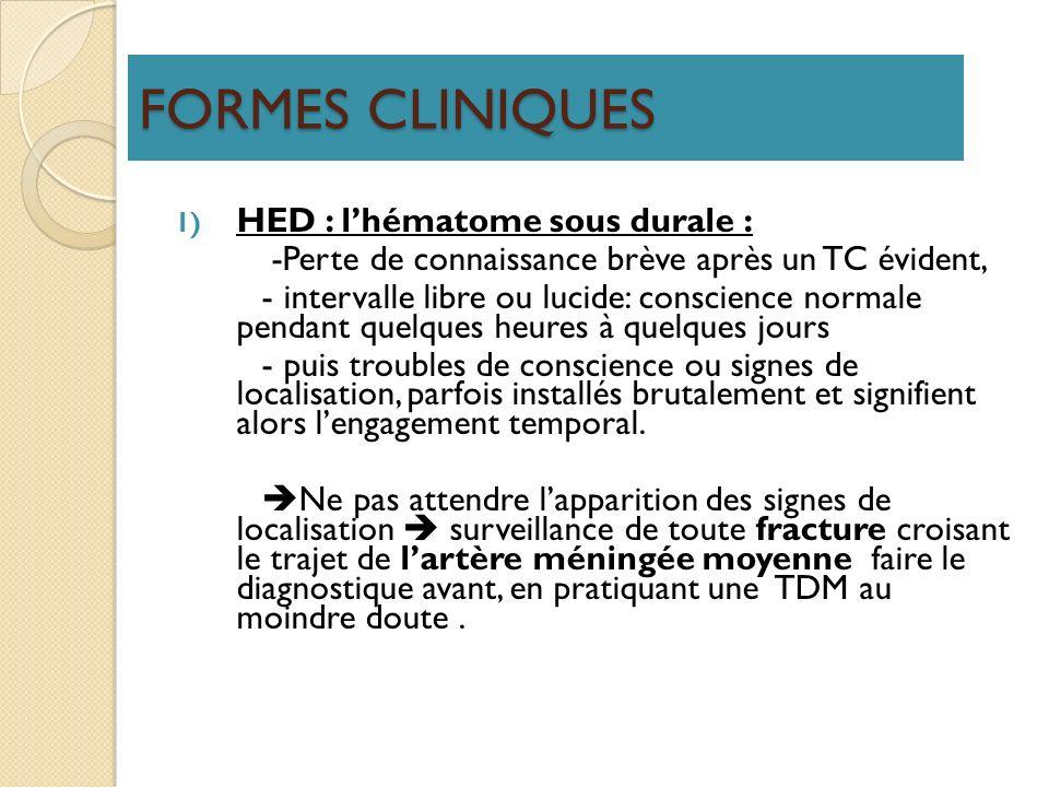 FORMES CLINIQUES 1) HED : lhématome sous durale : -Perte de connaissance brève après un TC évident, - intervalle libre ou lucide: conscience normale p