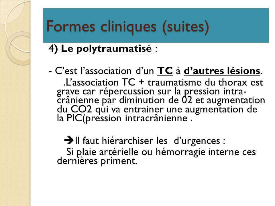 Formes cliniques (suites) 4) Le polytraumatisé : - Cest lassociation dun TC à dautres lésions..Lassociation TC + traumatisme du thorax est grave car r