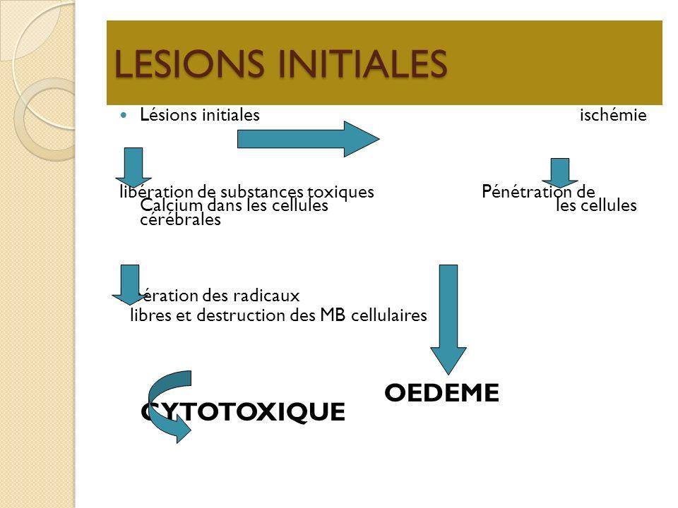 LESIONS INITIALES Lésions initiales ischémie libération de substances toxiques Pénétration de Calcium dans les cellules les cellules cérébrales Libéra