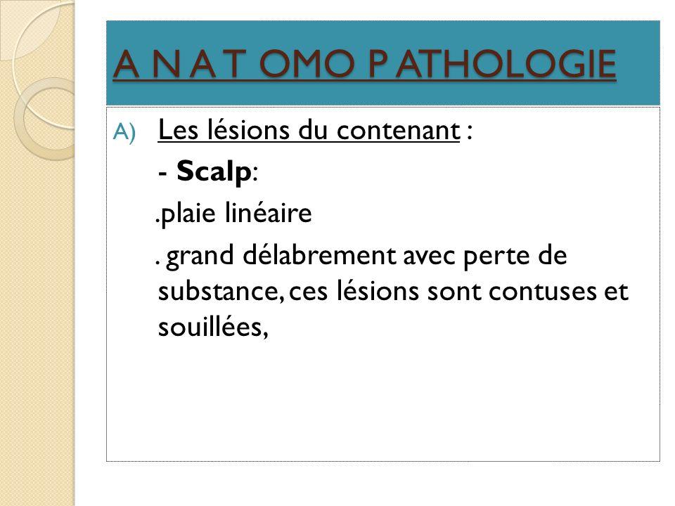 A N A T OMO P ATHOLOGIE A) Les lésions du contenant : - Scalp:.plaie linéaire. grand délabrement avec perte de substance, ces lésions sont contuses et
