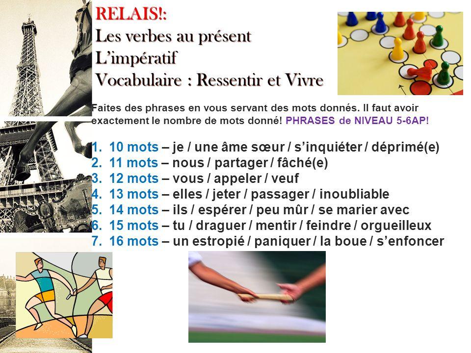 Le présent des verbes irréguliers A Complete French Grammar and Practice p. 28 #9 1. Ils viennent 2. Reçois-tu 3. Elle ne voit pas 4. Nous rions 5. Il