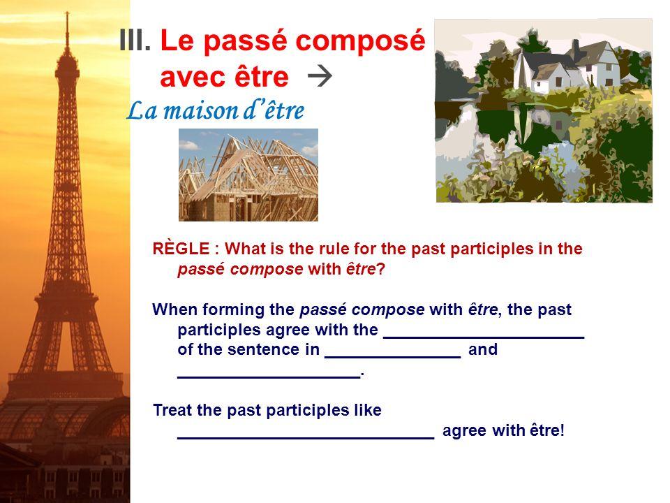 Le passé composé avec être La maison dêtre 1. Lucie et Solange ________________________ au resto. (venir) 2. Philippe _____________________ informatic