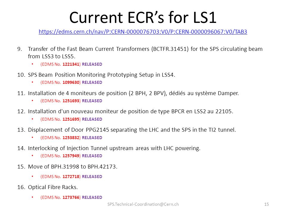 Current ECRs for LS1 https://edms.cern.ch/nav/P:CERN-0000076703:V0/P:CERN-0000096067:V0/TAB3 9.Transfer of the Fast Beam Current Transformers (BCTFR.31451) for the SPS circulating beam from LSS3 to LSS5.