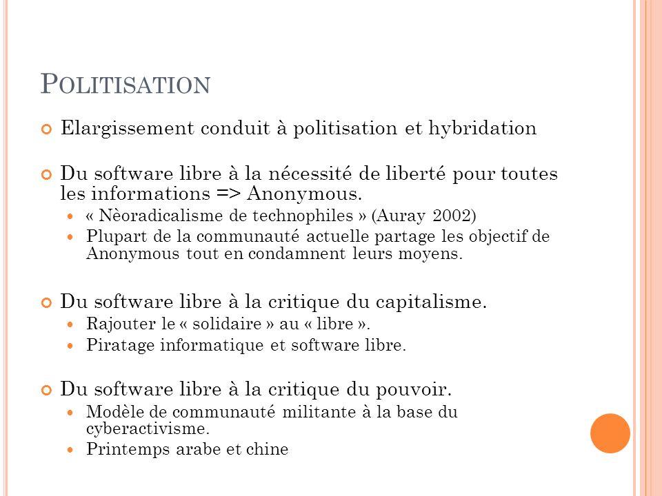 P OLITISATION Elargissement conduit à politisation et hybridation Du software libre à la nécessité de liberté pour toutes les informations => Anonymou