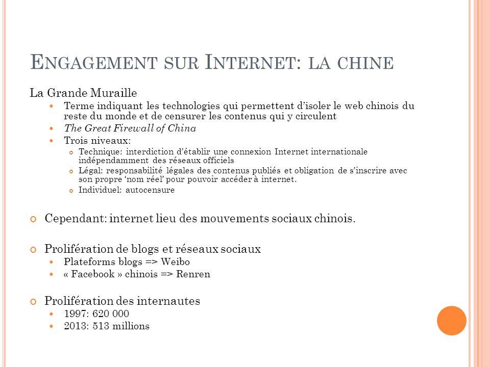 E NGAGEMENT SUR I NTERNET : LA CHINE La Grande Muraille Terme indiquant les technologies qui permettent disoler le web chinois du reste du monde et de