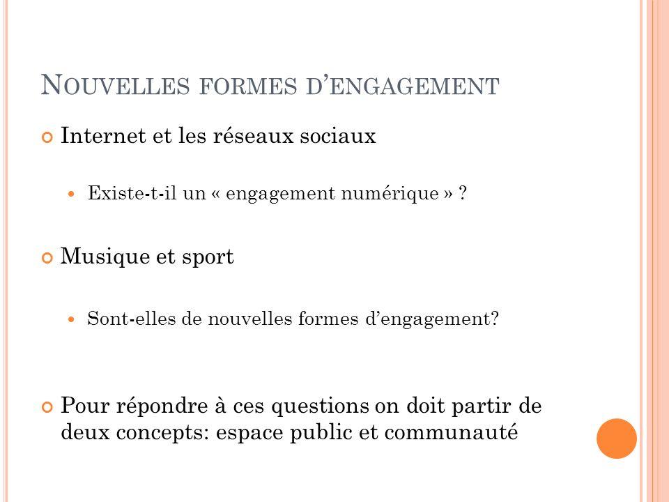 N OUVELLES FORMES D ENGAGEMENT Internet et les réseaux sociaux Existe-t-il un « engagement numérique » ? Musique et sport Sont-elles de nouvelles form