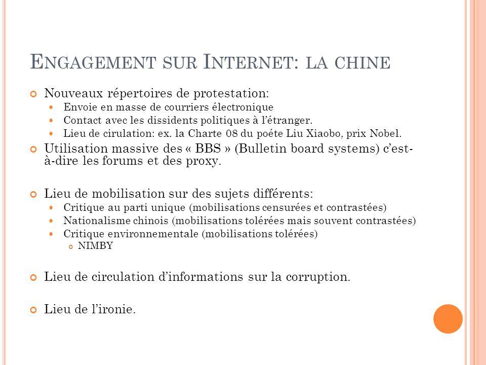 E NGAGEMENT SUR I NTERNET : LA CHINE Nouveaux répertoires de protestation: Envoie en masse de courriers électronique Contact avec les dissidents polit