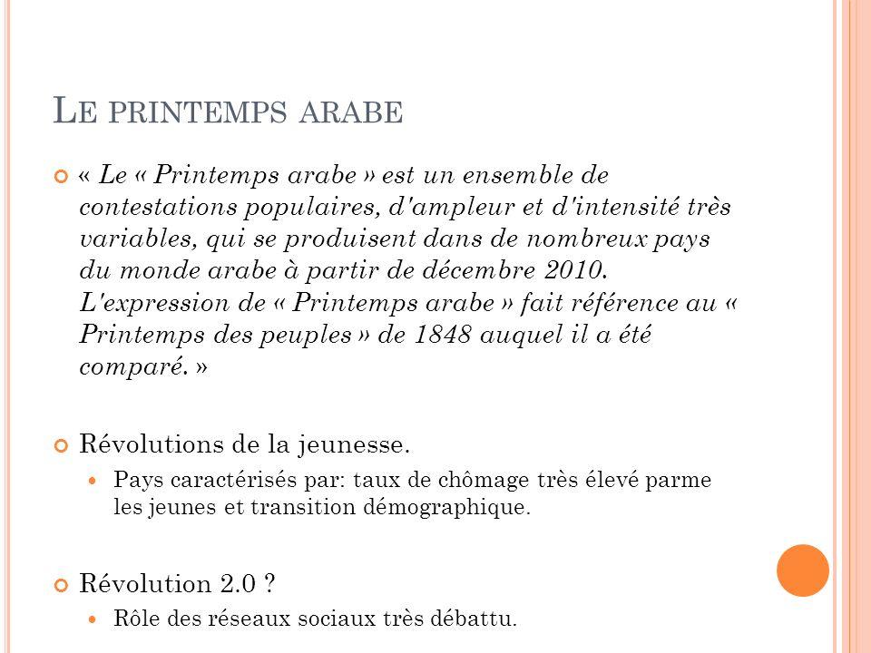 L E PRINTEMPS ARABE « Le « Printemps arabe » est un ensemble de contestations populaires, d'ampleur et d'intensité très variables, qui se produisent d