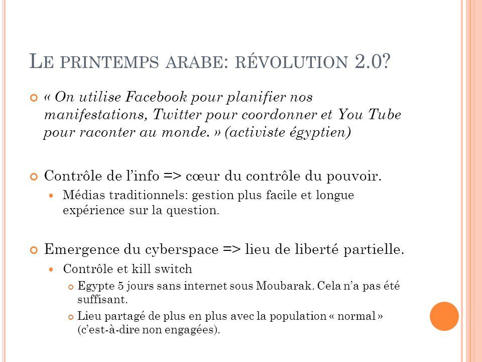 L E PRINTEMPS ARABE : RÉVOLUTION 2.0? « On utilise Facebook pour planifier nos manifestations, Twitter pour coordonner et You Tube pour raconter au mo