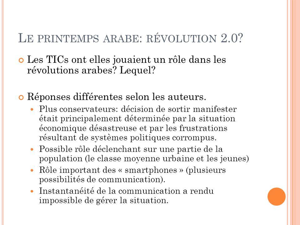 L E PRINTEMPS ARABE : RÉVOLUTION 2.0? Les TICs ont elles jouaient un rôle dans les révolutions arabes? Lequel? Réponses différentes selon les auteurs.