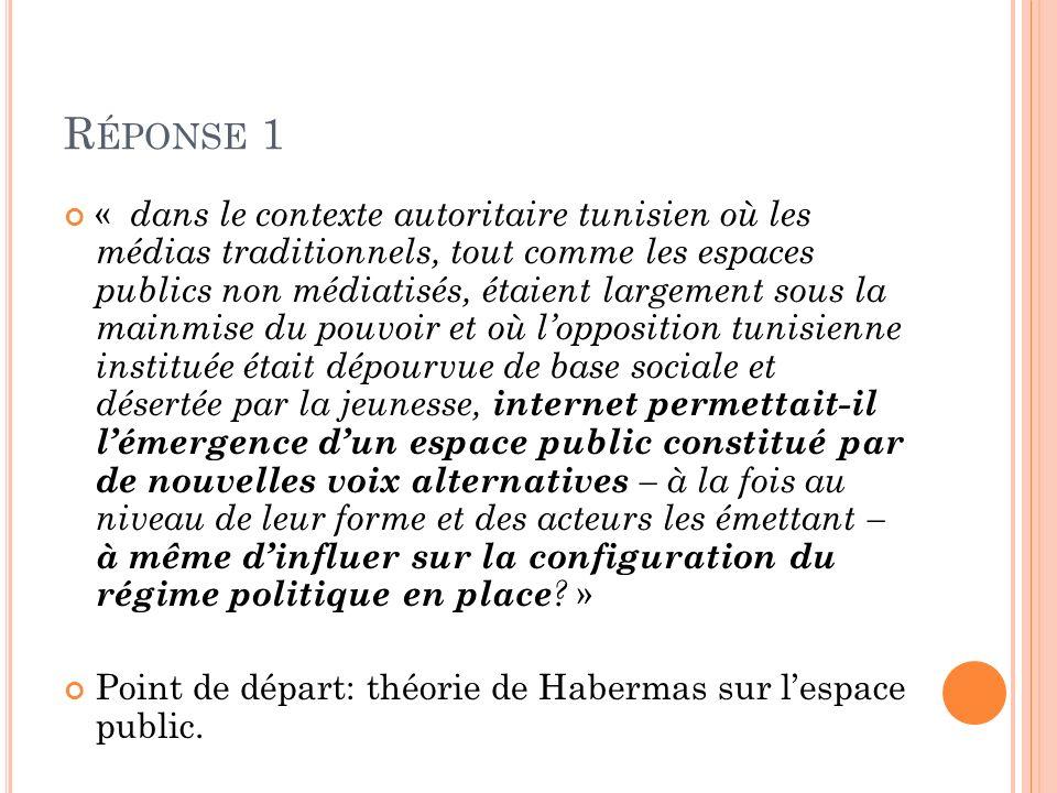 R ÉPONSE 1 « dans le contexte autoritaire tunisien où les médias traditionnels, tout comme les espaces publics non médiatisés, étaient largement sous