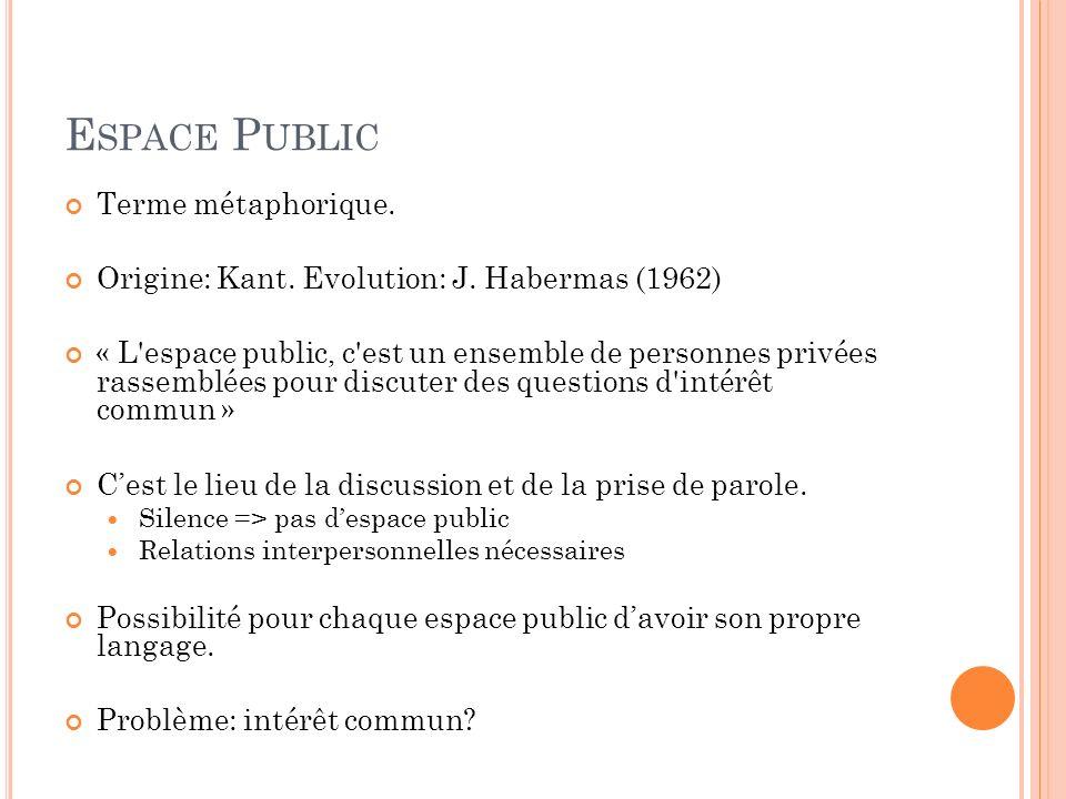 E SPACE P UBLIC Terme métaphorique. Origine: Kant. Evolution: J. Habermas (1962) « L'espace public, c'est un ensemble de personnes privées rassemblées