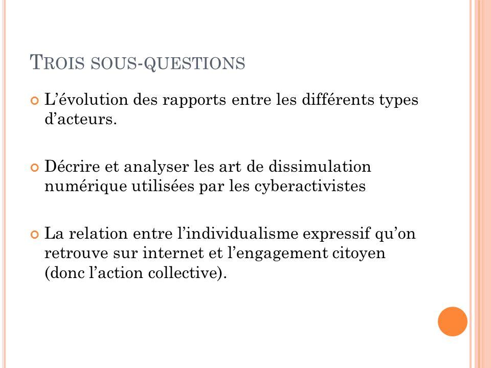 T ROIS SOUS - QUESTIONS Lévolution des rapports entre les différents types dacteurs. Décrire et analyser les art de dissimulation numérique utilisées