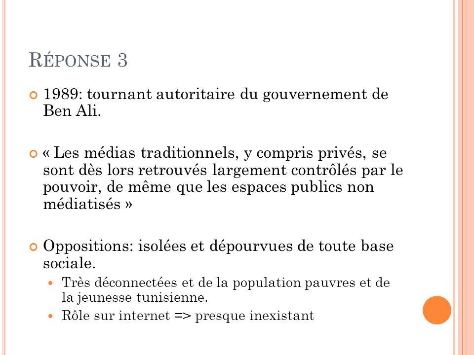 R ÉPONSE 3 1989: tournant autoritaire du gouvernement de Ben Ali. « Les médias traditionnels, y compris privés, se sont dès lors retrouvés largement c