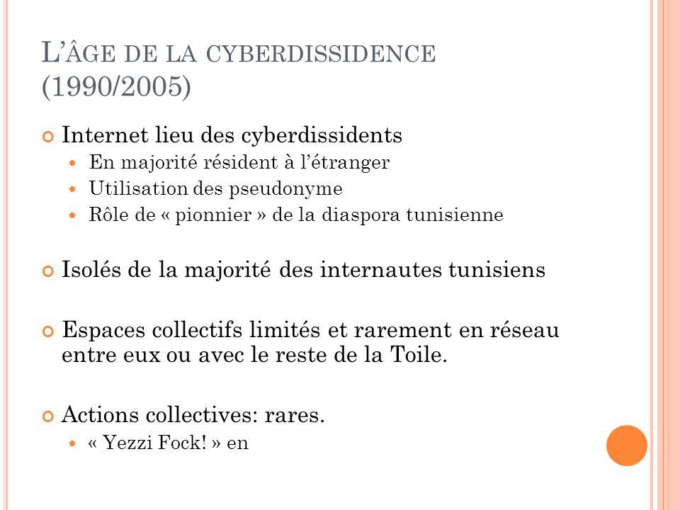 L ÂGE DE LA CYBERDISSIDENCE (1990/2005) Internet lieu des cyberdissidents En majorité résident à létranger Utilisation des pseudonyme Rôle de « pionni