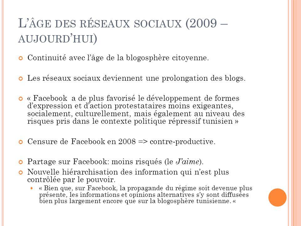 L ÂGE DES RÉSEAUX SOCIAUX (2009 – AUJOURD HUI ) Continuité avec lâge de la blogosphère citoyenne. Les réseaux sociaux deviennent une prolongation des