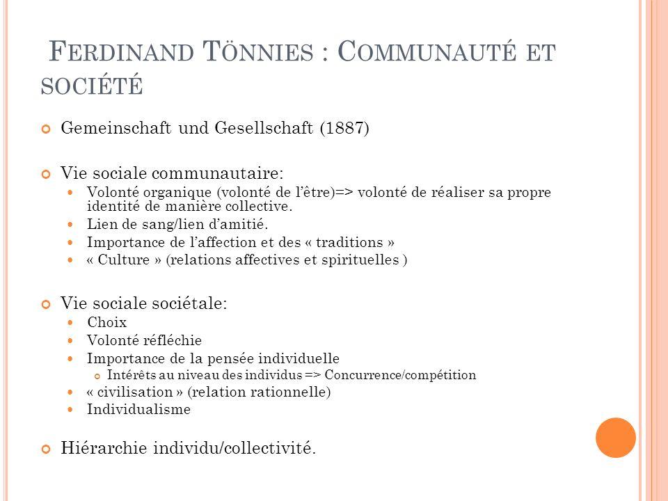 F ERDINAND T ÖNNIES : C OMMUNAUTÉ ET SOCIÉTÉ Gemeinschaft und Gesellschaft (1887) Vie sociale communautaire: Volonté organique (volonté de lêtre)=> vo