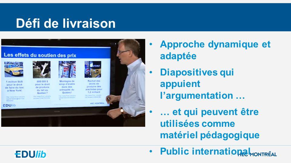 Défi de livraison Approche dynamique et adaptée Diapositives qui appuient largumentation … … et qui peuvent être utilisées comme matériel pédagogique Public international 7