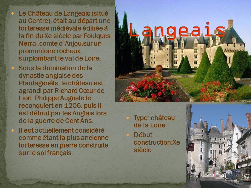 Le Château de Langeais (situé au Centre), était au départ une forteresse médiévale édifiée à la fin du Xe siècle par Foulques Nerra,comte dAnjou,sur u