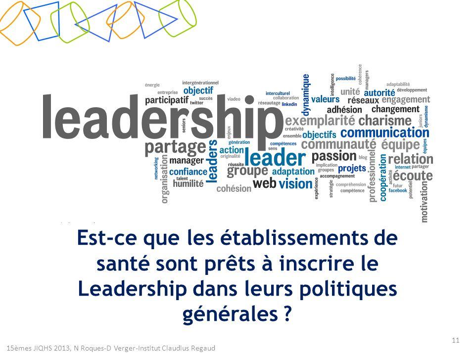 Est-ce que les établissements de santé sont prêts à inscrire le Leadership dans leurs politiques générales .
