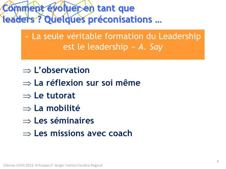 « La seule véritable formation du Leadership est le leadership » A.