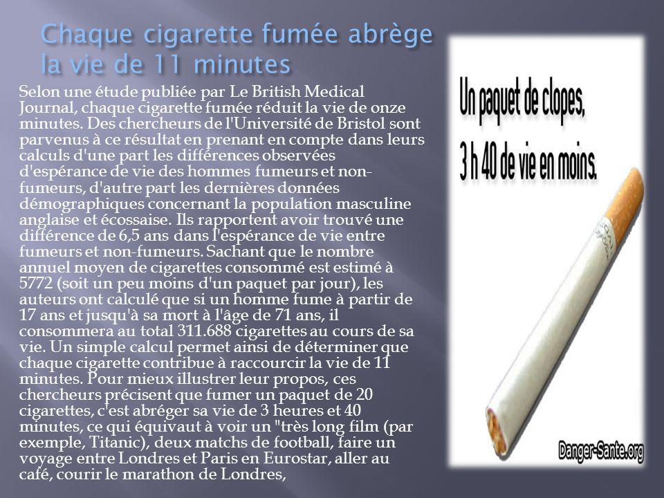 Chaque cigarette fumée abrège la vie de 11 minutes Selon une étude publiée par Le British Medical Journal, chaque cigarette fumée réduit la vie de onz