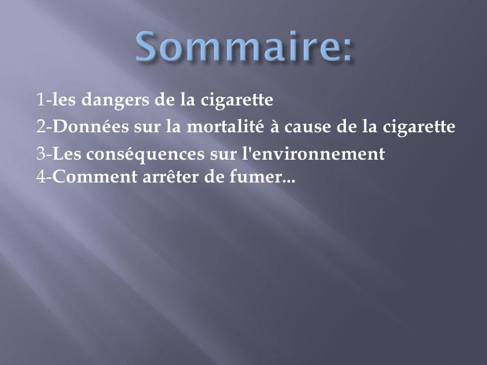 1- les dangers de la cigarette 2- Données sur la mortalité à cause de la cigarette 3- Les conséquences sur l'environnement 4- Comment arrêter de fumer