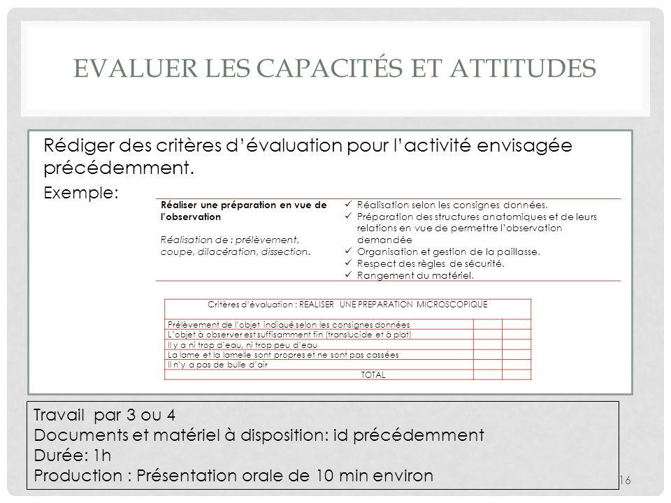 Rédiger des critères dévaluation pour lactivité envisagée précédemment. Exemple: 16 Travail par 3 ou 4 Documents et matériel à disposition: id précéde