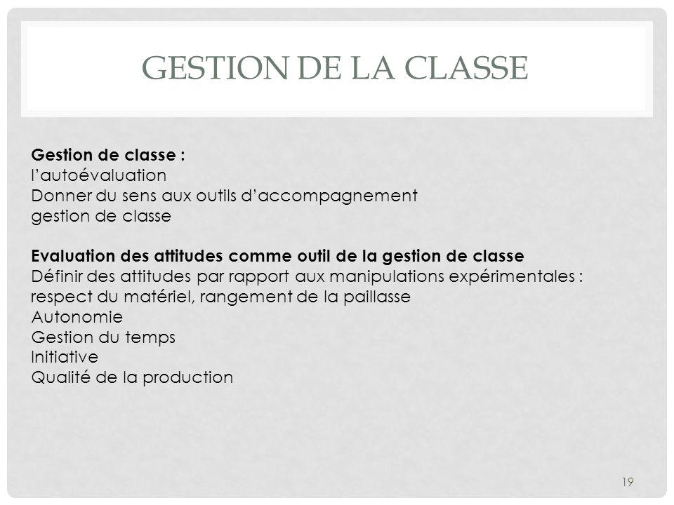 GESTION DE LA CLASSE 19 Gestion de classe : lautoévaluation Donner du sens aux outils daccompagnement gestion de classe Evaluation des attitudes comme