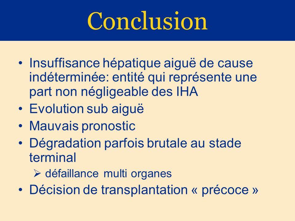 Conclusion Insuffisance hépatique aiguë de cause indéterminée: entité qui représente une part non négligeable des IHA Evolution sub aiguë Mauvais pron