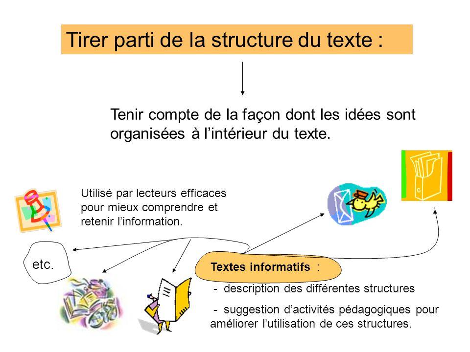 Tirer parti de la structure du texte : Tenir compte de la façon dont les idées sont organisées à lintérieur du texte. Textes informatifs : - descripti