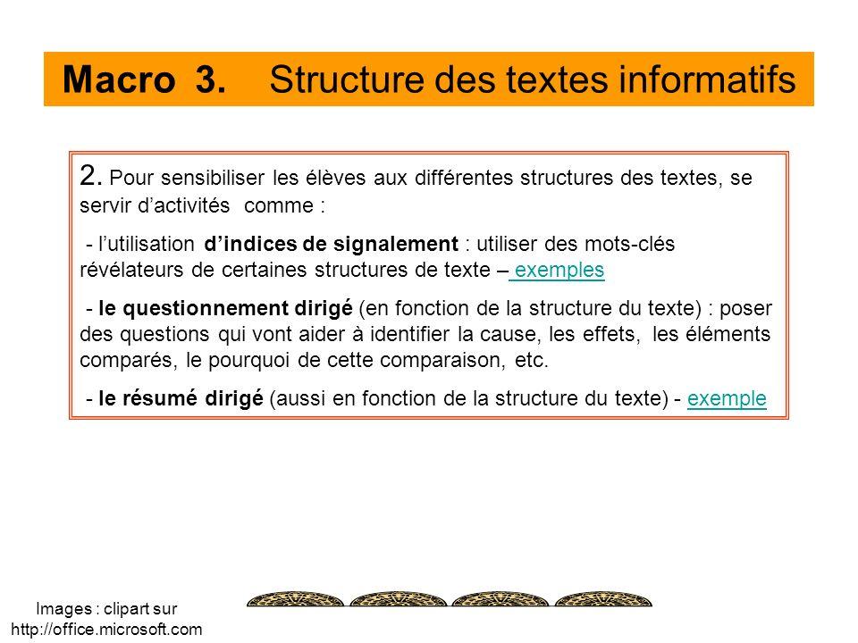 Macro 3. Structure des textes informatifs 2. Pour sensibiliser les élèves aux différentes structures des textes, se servir dactivités comme : - lutili