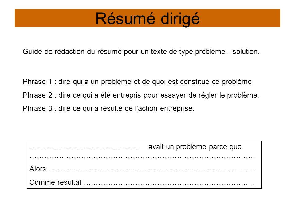 Résumé dirigé Guide de rédaction du résumé pour un texte de type problème - solution. ……………………………………… avait un problème parce que ……………………………………………………