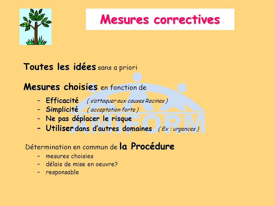 Mesures correctives les idées Toutes les idées sans a priori Mesures Mesures choisies en fonction de –Efficacité –Efficacité ( sattaquer aux causes Ra
