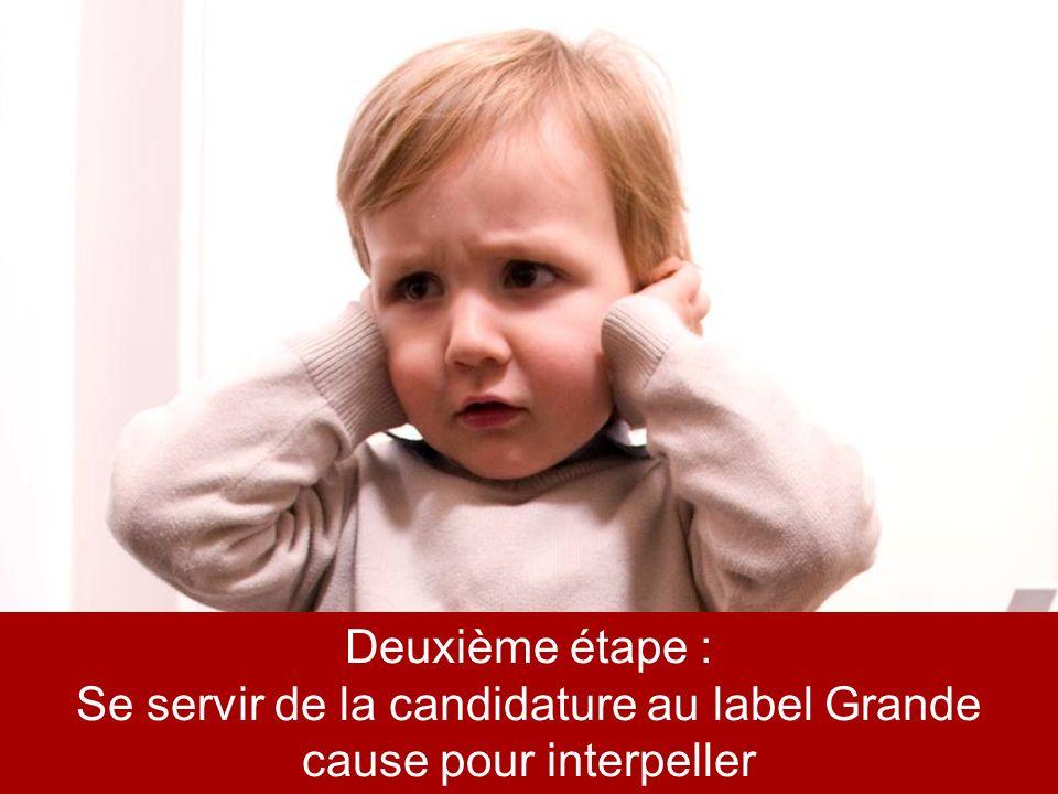* Sondage OpinionWay mars 2010 Deuxième étape : Se servir de la candidature au label Grande cause pour interpeller