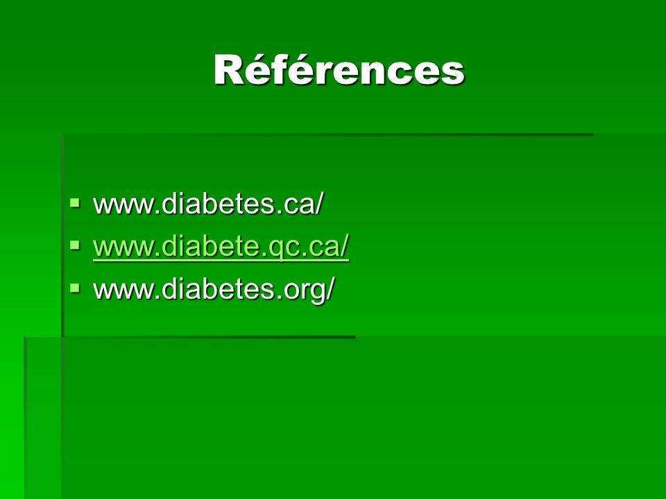 Références www.diabetes.ca/ www.diabetes.ca/ www.diabete.qc.ca/ www.diabete.qc.ca/ www.diabete.qc.ca/ www.diabetes.org/ www.diabetes.org/