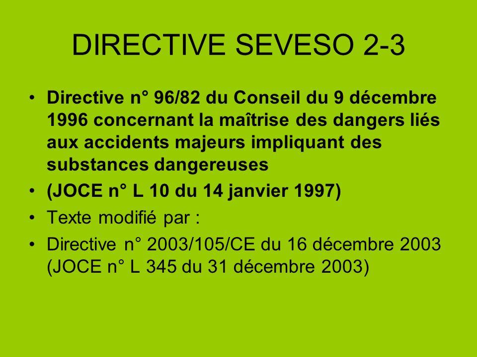 DIRECTIVE SEVESO 2-3 Directive n° 96/82 du Conseil du 9 décembre 1996 concernant la maîtrise des dangers liés aux accidents majeurs impliquant des sub