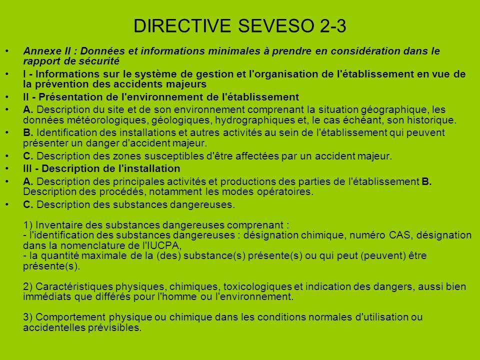 DIRECTIVE SEVESO 2-3 Annexe II : Données et informations minimales à prendre en considération dans le rapport de sécurité I - Informations sur le syst