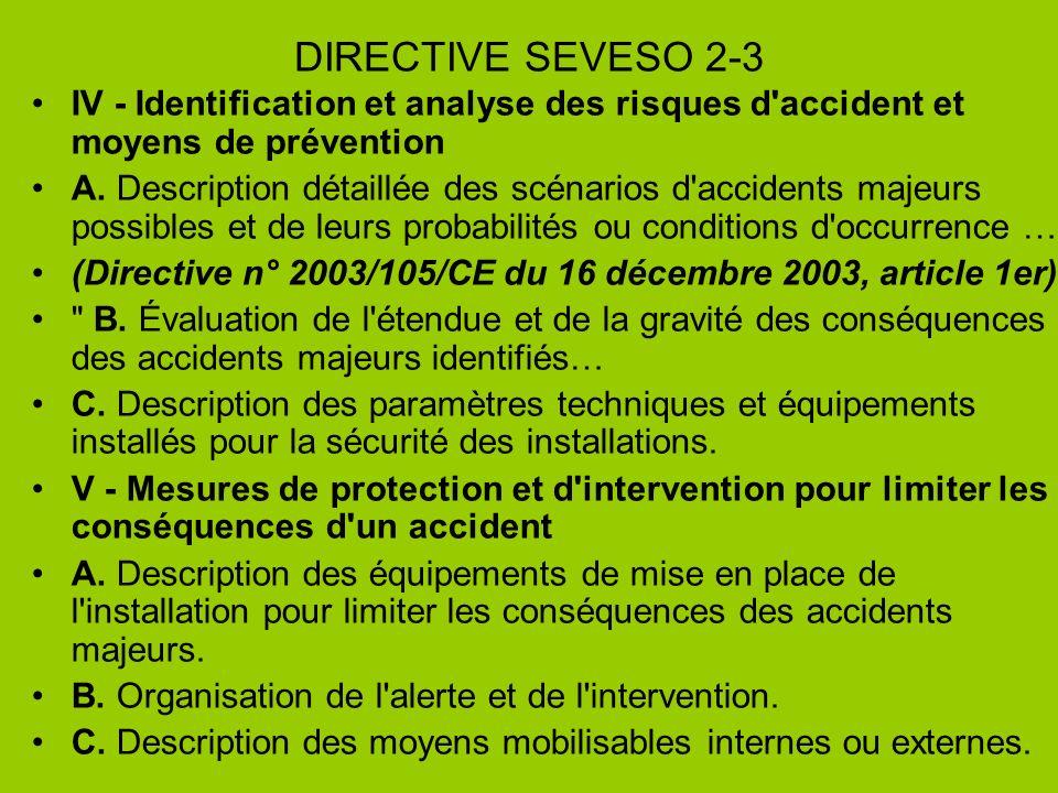 DIRECTIVE SEVESO 2-3 IV - Identification et analyse des risques d'accident et moyens de prévention A. Description détaillée des scénarios d'accidents