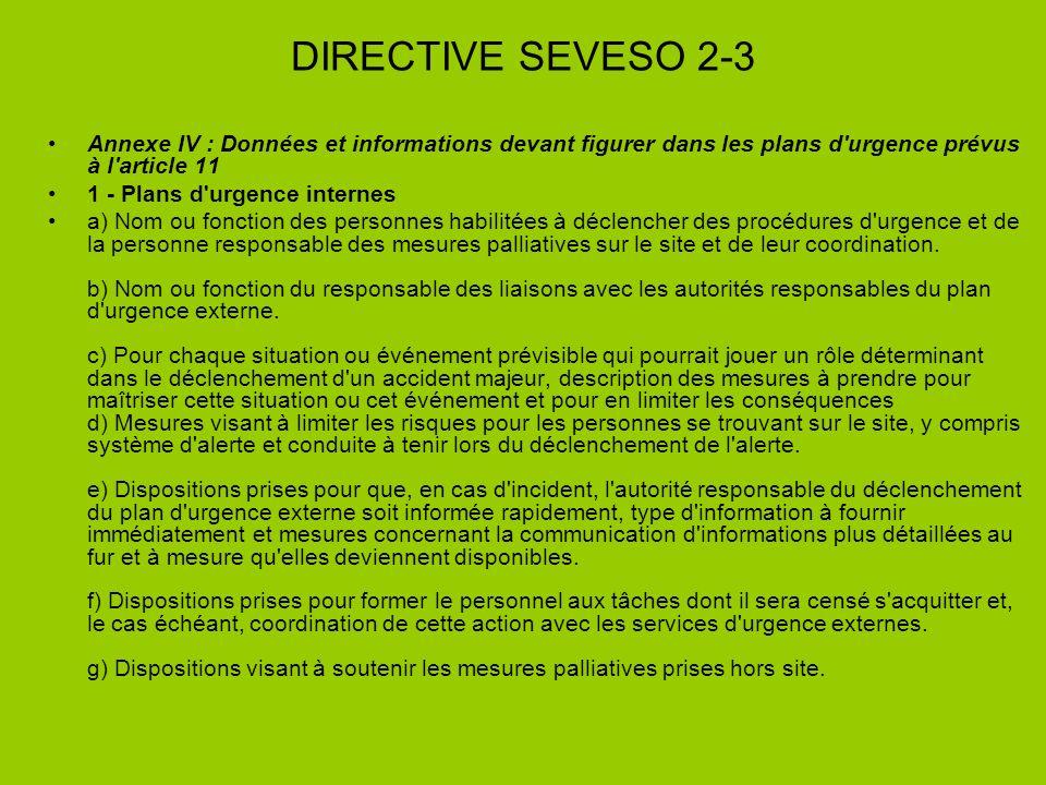 DIRECTIVE SEVESO 2-3 Annexe IV : Données et informations devant figurer dans les plans d'urgence prévus à l'article 11 1 - Plans d'urgence internes a)