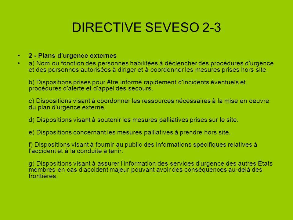 DIRECTIVE SEVESO 2-3 2 - Plans d'urgence externes a) Nom ou fonction des personnes habilitées à déclencher des procédures d'urgence et des personnes a
