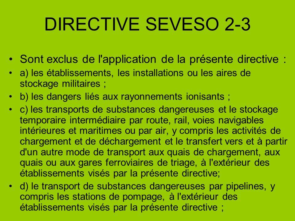 DIRECTIVE SEVESO 2-3 Sont exclus de l'application de la présente directive : a) les établissements, les installations ou les aires de stockage militai